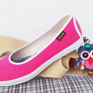 รองเท้าคัดชู ผ้าทอมือไทย สีชมพู พื้นยางพาราแท้