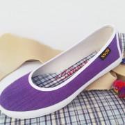 รองเท้าคัดชู ผ้าทอมือไทย สีม่วง พื้นยางพาราแท้