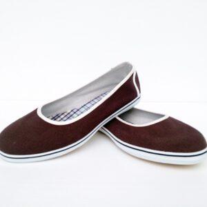 รองเท้าคัดชูผู้หญิง สีโกโก้ พื้นยางพาราแท้ เบา สบาย