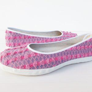 รองเท้าคัดชูหญิง-คอลเลคชั่นผ้ายีนส์-สีชมพู-พื้้นยางพาราแท้